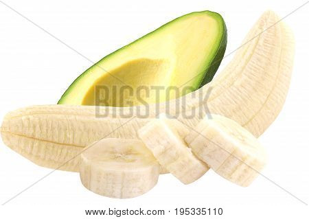 Isolated fruits. Avocado and banana isolated on white background with clipping path