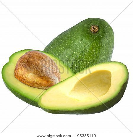 Isolated avocado. One and two half cut avocado isolated on white background