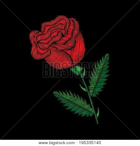Embroidery stitches imitation red bud of rose. Fashion embroidery rose flower on black background. Embroidery bud of rose vector.