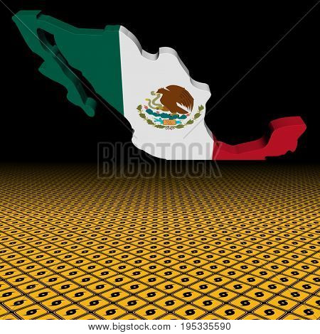 Mexico map flag with hurricane warning sign foreground 3d illustration