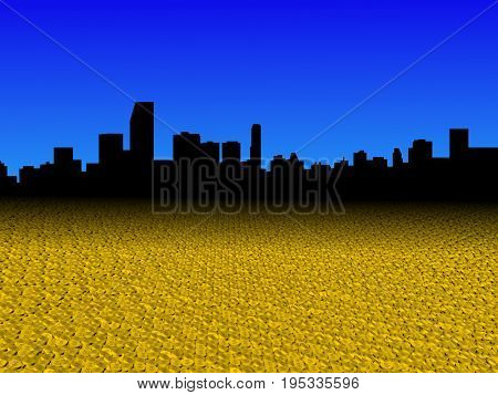 Miami skyline with golden dollar coins foreground 3d illustration