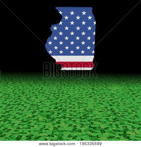 Illinois map flag with abstract dollar foreground 3d illustration