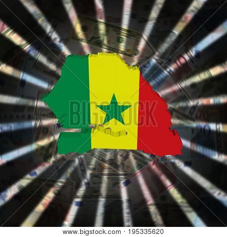 Senegal map flag on currency burst 3d illustration