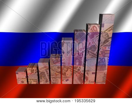 Currency graph on rippled Russian flag 3d illustration