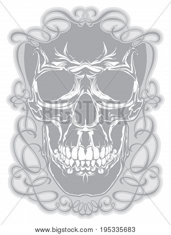 Skull in decorative frame with calligraphic elements