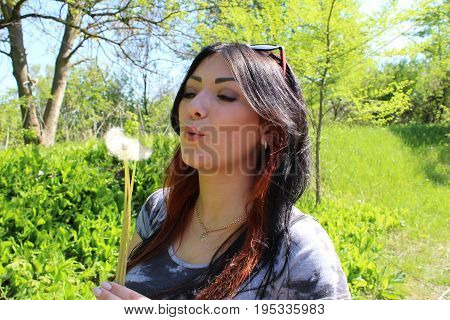 The Girl Blowing A Dandelion