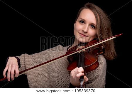 Wonderful Violinist Staring At Camera