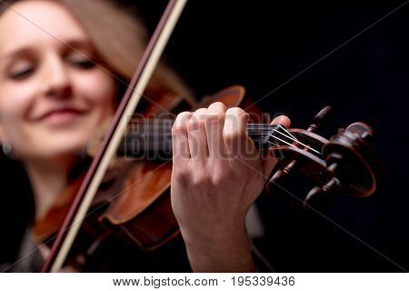 Hand Closeup Of A Violinist Classical Musician