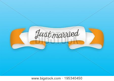 Trendy retro ribbon with text Just married. Colorful banner with ribbon for design game web. Vector Illustration