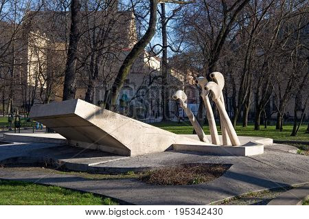 KRAKOW, POLAND - MARCH 28, 2017: Water fountain named Chopin's Piano in the centre of Krakow. Project by Maria Jarema (1949). Completed by Wanda Czelkowska in 2006.