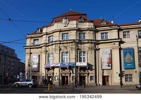KRAKOW, POLAND - MARCH 28, 2017: The building of the Krakow Philharmonic (designed by architect Jozef Pokutynski). Is the primary concert hall in Krakow and one of the largest auditoriums.