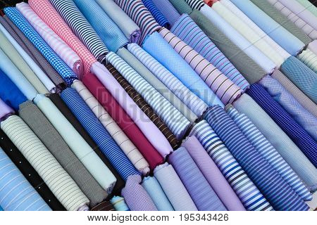 Neatly Placed Blue Textile Fabrics Of Textured Texture Background