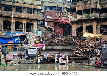 Burning Ghat In Varanasi, India