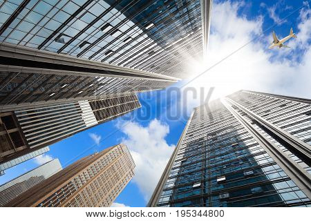 Looking Up At Modern City Buildings Backgrounds