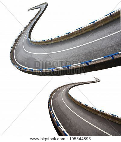 Empty curve road surface floor isolated on the white background