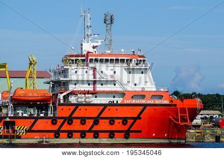 Labuan,Malaysia-June 26,2017:Offshore Oil and Gas vessels  under repairing in shipyard at Labuan,Malaysia.