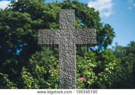 Stone Cross On Grave, Gravestone On Cemetery