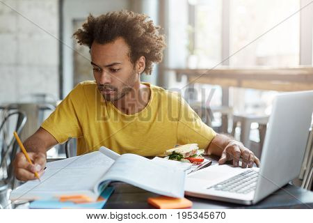 Serious Confident Young Dark-skinned Teacher In Casual Wear Working On Education Plan, Making Notes