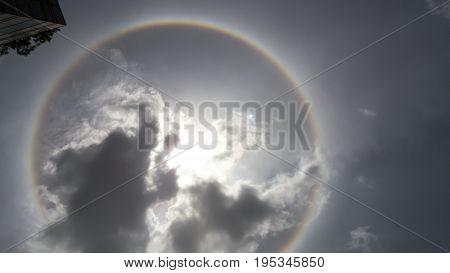 fantastic beautiful sun halo phenomenon in thailand