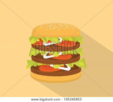 big hamburger with bun and tall patty and long shadow as background vector
