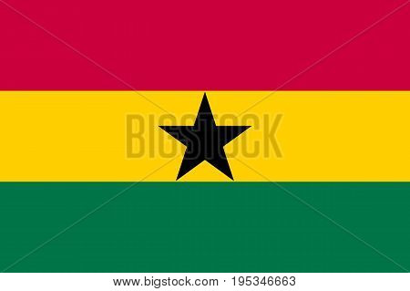 Ghana country flag and state ensign. Horizontal triband of red, gold, and green, charged with a black star in the center. Flat style vector illustration