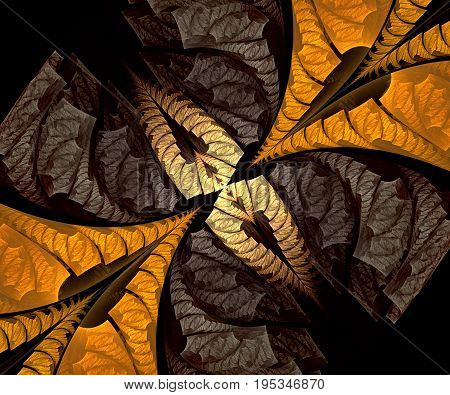 Computer generated fractal artwork with set of opposite arrows