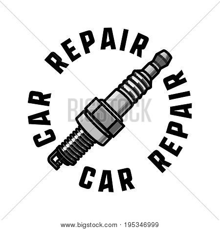 Color vintage car repair emblem. Car service badges, garage repair labels and insignias collection. Good for repair workshop, classic cars auctions, clubs, tee shirt.