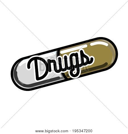Color vintage drugs emblem. Vector illustration, EPS 10