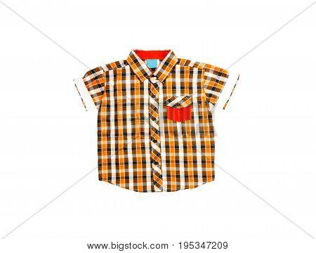 checked pattern shirt on isolated white background
