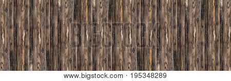 Panorama old wood board brown with patina tree vertical lines