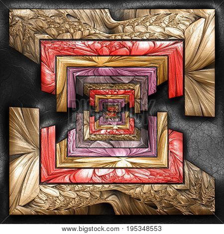 3D rendering of plastic background with embossed striped multisquare fractal on leather