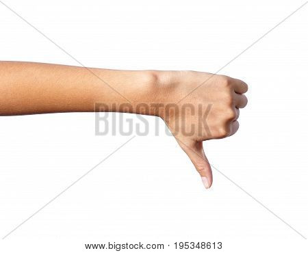 woman hand with thumb down on isolated white background