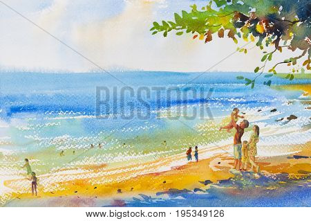Watercolor original seascape painting colorful of family on the beach and summer holiday happy travel in emotion sky cloud background. Hand painted illustration artistic.