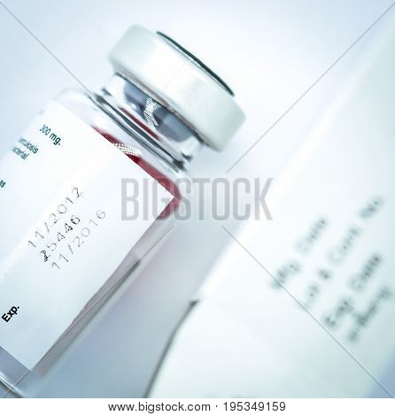 label expiration medicine on bottle with white background