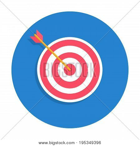 Business success concept icon. Archery target with arrow hitted the mark, market competition or project winner. Vector flat style cartoon illustration in rounded shape.