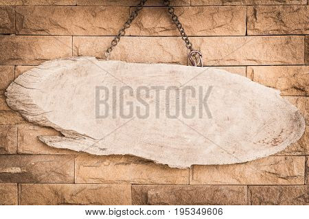 blank wood signboard with old blick background