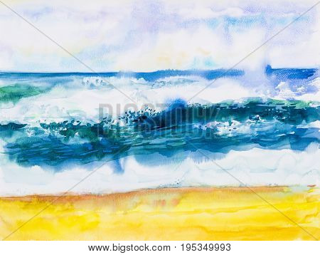 Watercolor seascape original painting colorful of sea view beach wave and sky cloud background in the morning bright nature beauty season. Painted impressionist abstract images.
