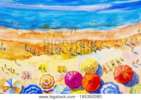 Painting watercolor seascape Top view colorful of lovers family vacation and tourism in summery multi colored umbrella sea wave blue background. Painted Impressionist abstract image illustration.