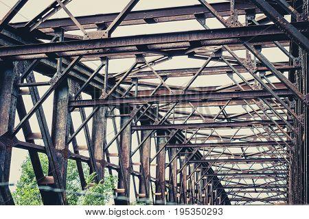 Old Rusty Steel Bridge Construction - Rusted Steel Beams