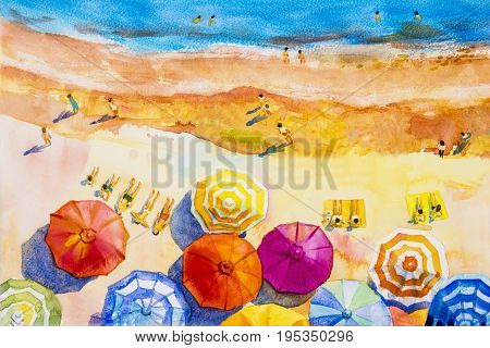 Painting watercolor seascape Top view colorful of lovers family vacation and tourism in summer multi colored umbrella sea wave blue background. Painted Impressionist abstract image illustration.
