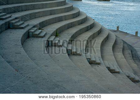 Concrete Steps by the Ohio river in Cincinnati