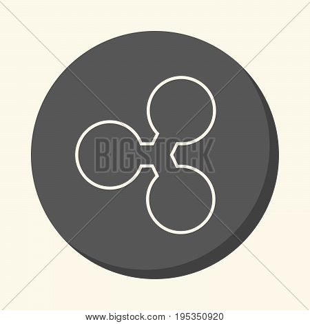 Ripple round linear icon with illusion of volume simple color change symbol of digital crypto currency
