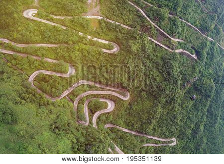Cable Car With Winding And Curves Road In  Tianmen Mountain Zhangjiajie National Park, Hunan Provinc