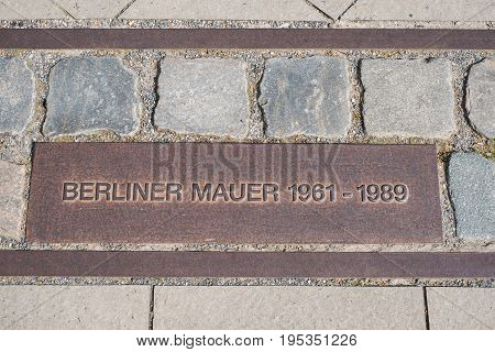 Berlin Wall Sign / Memorial On Sidewalk