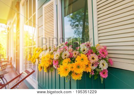 Window With Flower Box And Shutters At Home