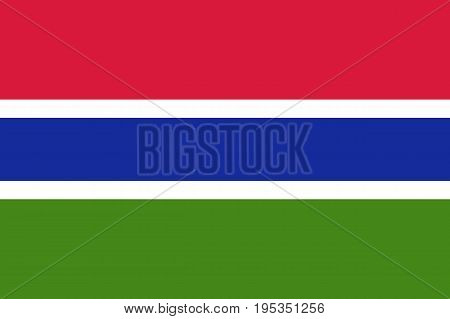 Gambia country flag. Horizontal tricolor of red, blue and green each band of colour is separated by a narrow band of white. Flat style vector illustration