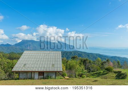 Landscape Of Hut In Mountain Valley At Doi Luang Chiang Dao, Chiangmai Thailand