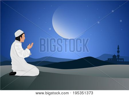 vector abstract man praying on moon background