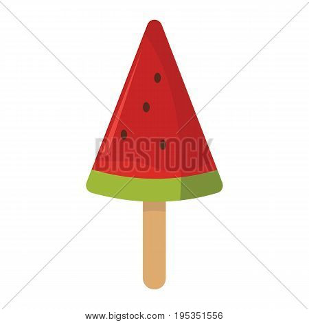Ice cream of watermelon cream ingredients in stick on white background cartoon flat vector illustration element for delicious food ice cream design