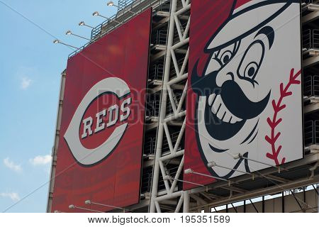 CINCINNATI, OHIO - JULY 14, 2017: Great American Ball Park, Home of the Reds baseball team